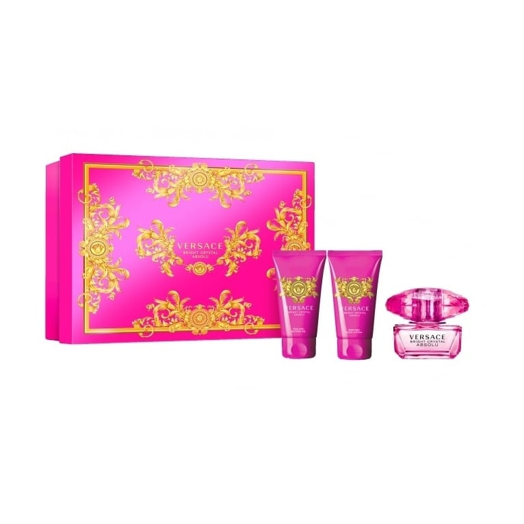 Versace Bright Crystal Absolu - 50ml EDP Gift Set With Body Lotion & Shower Gel.