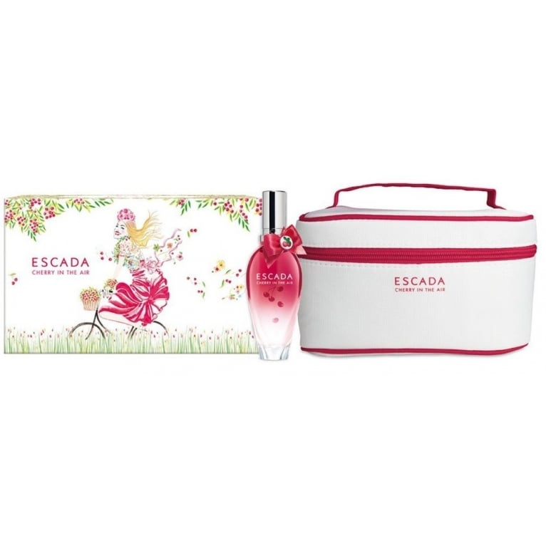 Escada Cherry In The Air - 30ml EDT Gift Set With Cosmetics Bag.