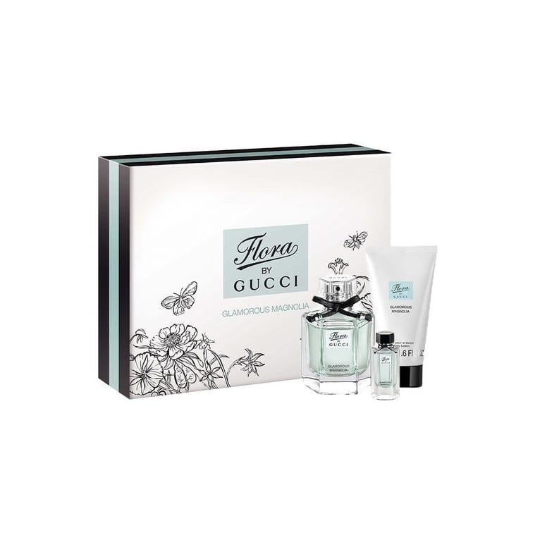 Gucci Flora Glamorous Magnolia - 50ml Gift Set With 5ml Miniature and 50ml Body