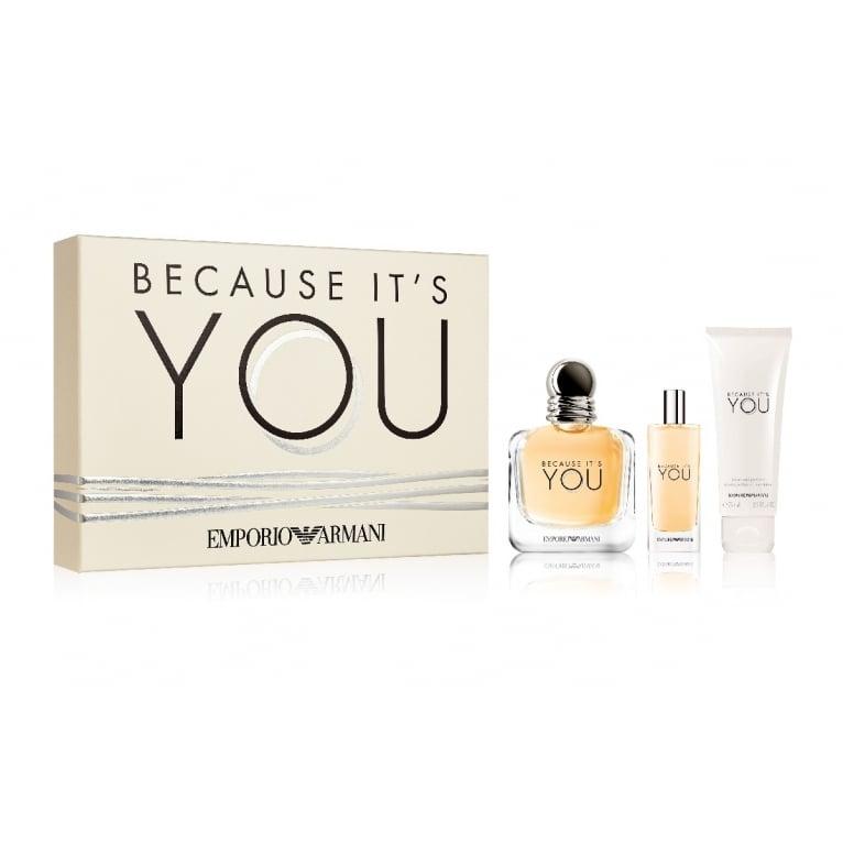 Emporio Armani Because it's You - 50ml EDP Gift Set + 15ml and Lip Balm.