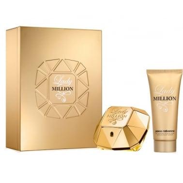 Paco Rabanne Lady Million - 50ml EDP Gift Set With 50ml Sensual Body Lotion.