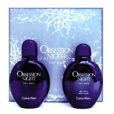 Calvin Klein Obsession Night For Men - 125ml EDT Gift Set With 125ml Aftershave.