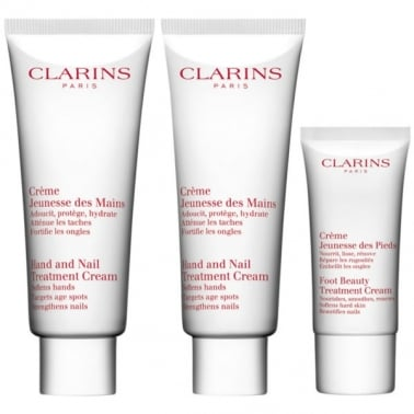 Clarins Hand And Foot Cream Set - 2 x Hand And Nail Treatment & 30ml Foot Cream
