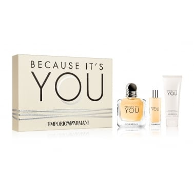 Emporio Armani Because it's You - 50ml EDP Gift Set + 15ml and Lip Balm.