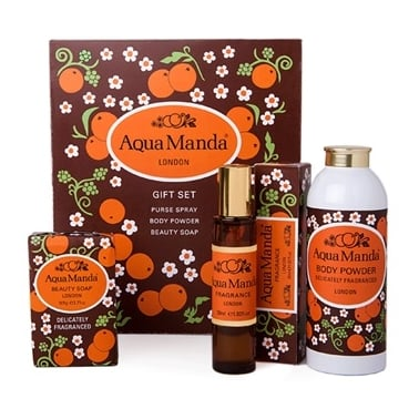 Aqua Manda London - Perfume Gift Set With 30ml Purse Spray, 100g Body Powder