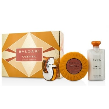 Bulgari Omnia Indian Garnet 65ml EDT Spray / 75ml Body Lotion / 75g Soap / Pouch