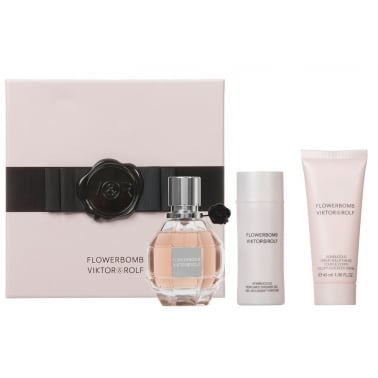 Viktor & Rolf Flowerbomb - 50ml EDP Gift Set With 50ml Shower Gel and Body Lotin