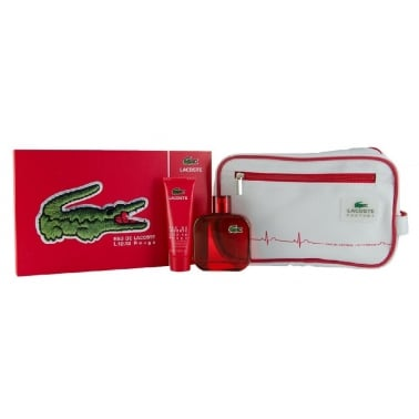 Lacoste L.12.12 Rouge - 100ml EDT Gift Set With 50ml Shower Gel and Wash Bag.