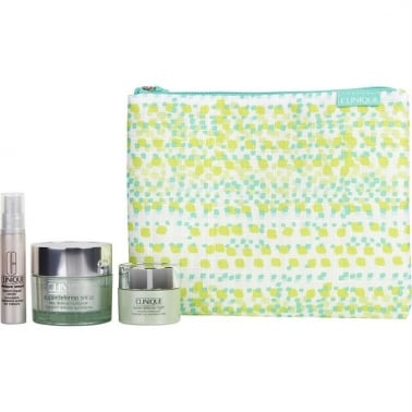 Clinique Superdefense Daily Moisturizer Gift Set 50ml SPF20 With Superdefense Night Recovery Moisturizer & Smart Custom Repair Serum & Pouch