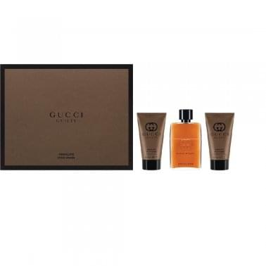 Gucci Guilty Absolute Pour Homme - Gift Set With 90ml Eau De Parfum Spray, 150ml Shower Gel and 50ml Aftershave Balm