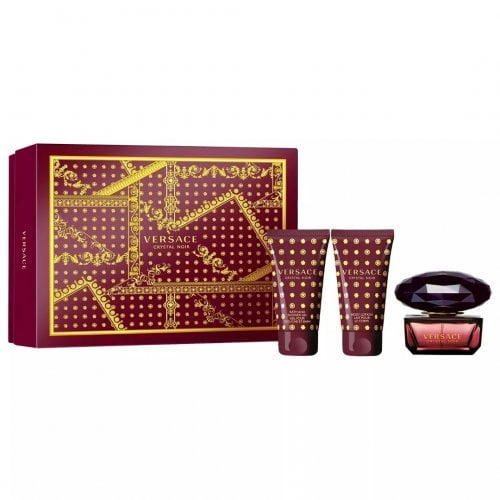 Versace Crystal Noir Pour Femme - Gift Set With 50ml EDT Spray, 50ml Body Lotion and 50ml Shower Gel