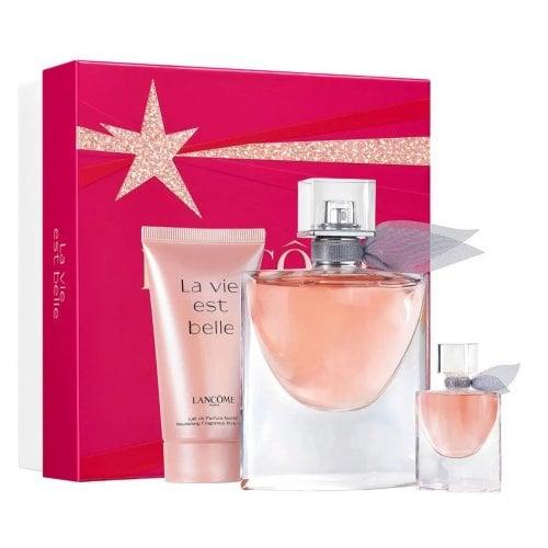 Lancome La Vie Est Belle 2021 - Gift Set With 50ml EDP Spray, 4ml Miniature EDP and 50ml Body Lotion