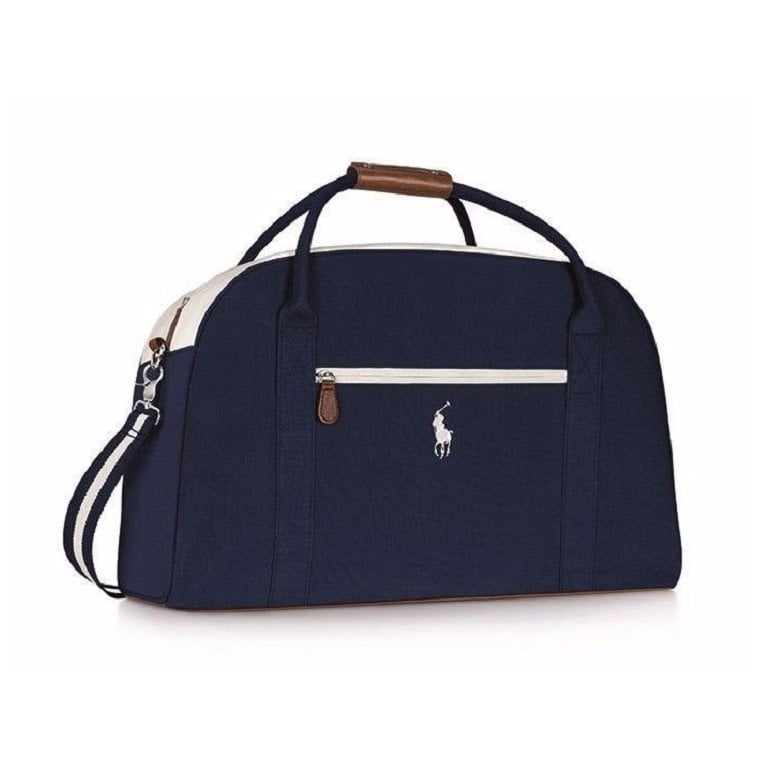 Ralph Lauren Large Dark Navy Blue With White Trim Brown Base Mens Holdall Gym Travel Weekend Bag