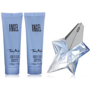 Thierry Mugler Angel Gift Set - 25ml Eau De Parfum With 50ml Body Lotion, Shower Gel & Bag.