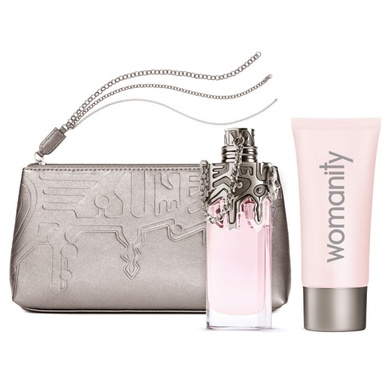 Thierry Mugler Womanity - 50ml Gift Set With 100ml Body Milk and Bag, DAMAGED.